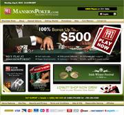 Screenshot van de Mansion Poker website
